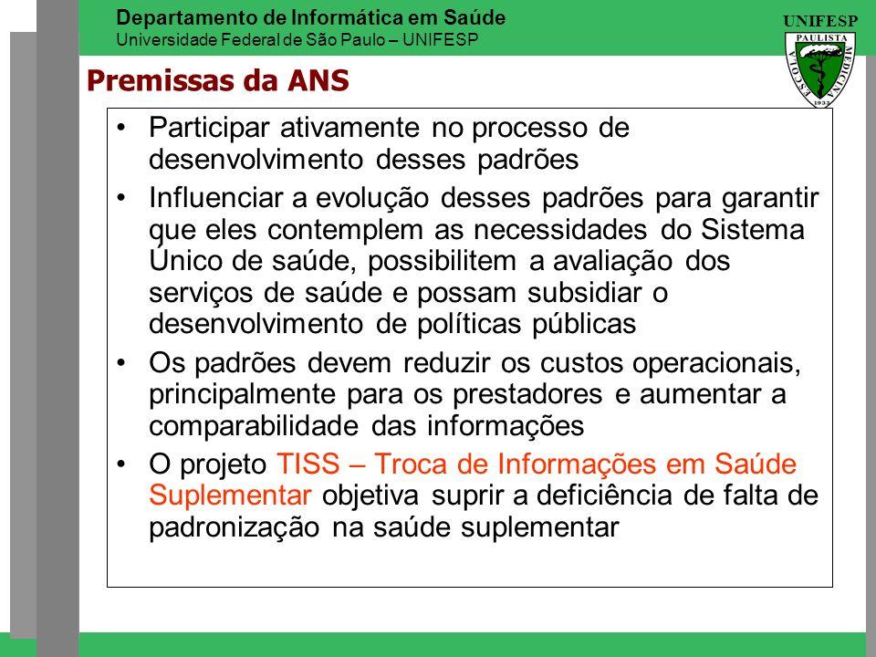 UNIFESP Departamento de Informática em Saúde Universidade Federal de São Paulo – UNIFESP Premissas da ANS Participar ativamente no processo de desenvo