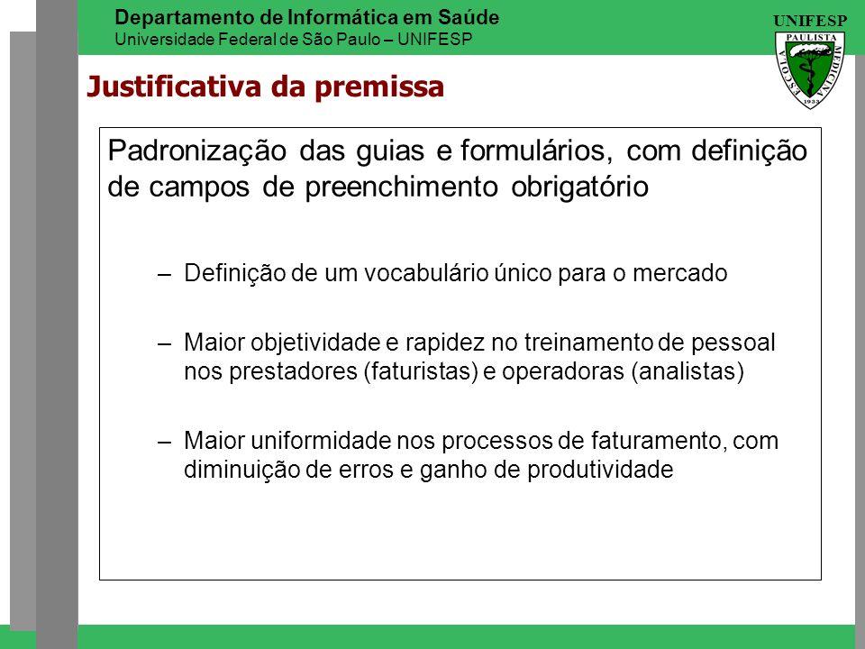 UNIFESP Departamento de Informática em Saúde Universidade Federal de São Paulo – UNIFESP Padronização das guias e formulários, com definição de campos