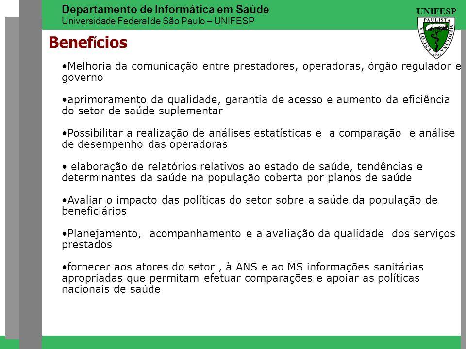 UNIFESP Departamento de Informática em Saúde Universidade Federal de São Paulo – UNIFESP Benef í cios Melhoria da comunicação entre prestadores, opera