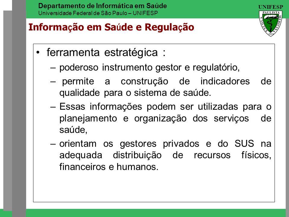 UNIFESP Departamento de Informática em Saúde Universidade Federal de São Paulo – UNIFESP Informa ç ão em Sa ú de e Regula ç ão ferramenta estratégica