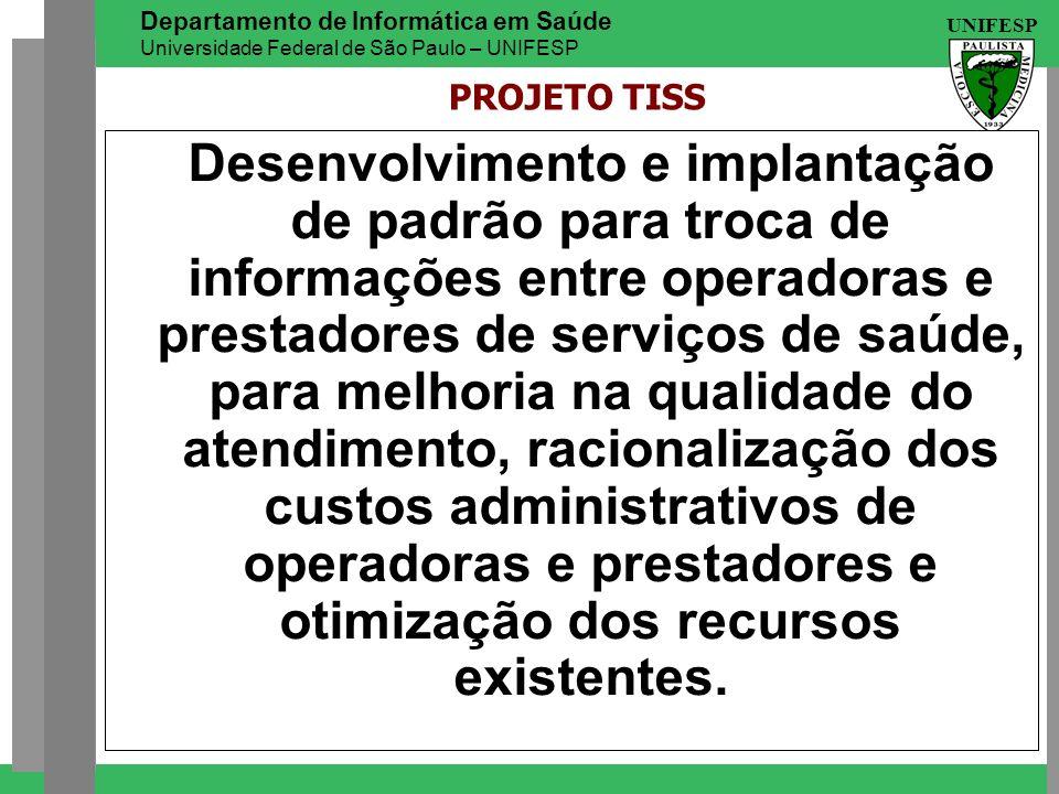 UNIFESP Departamento de Informática em Saúde Universidade Federal de São Paulo – UNIFESP Desenvolvimento e implantação de padrão para troca de informa