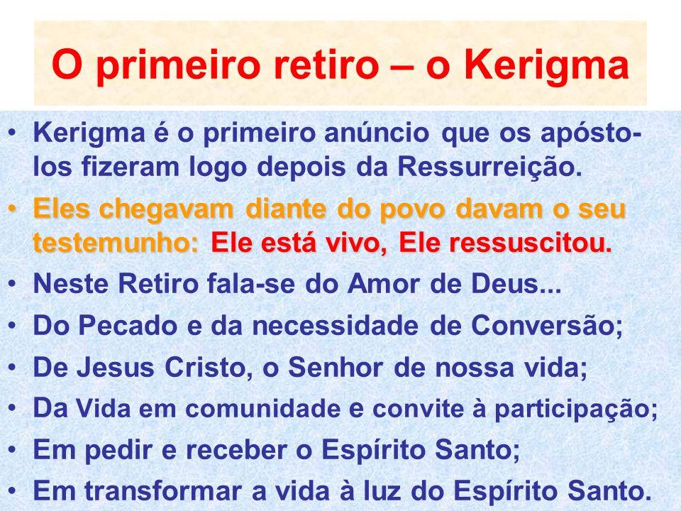 O primeiro retiro – o Kerigma Kerigma é o primeiro anúncio que os apósto- los fizeram logo depois da Ressurreição. Eles chegavam diante do povo davam