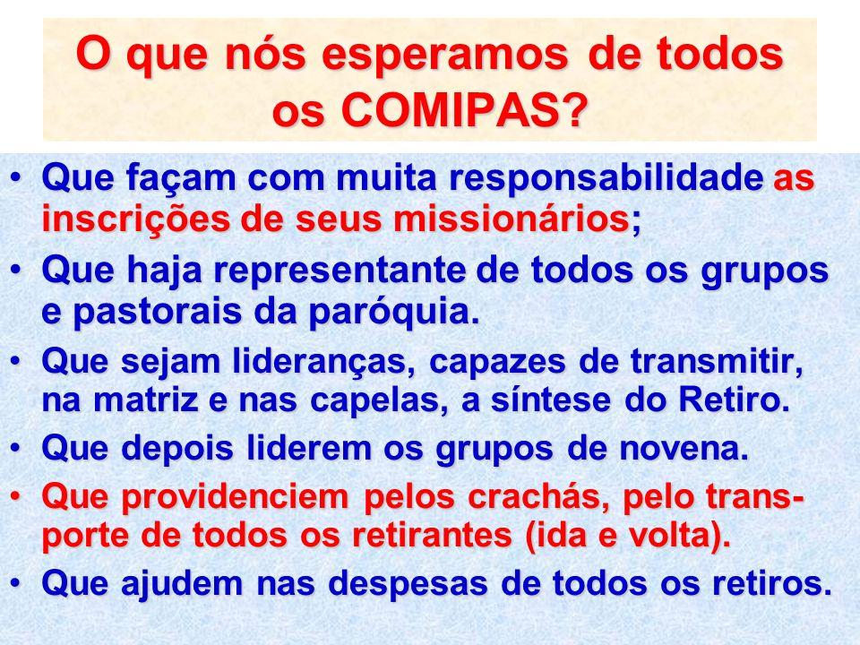 O que nós esperamos de todos os COMIPAS? Que façam com muita responsabilidade as inscrições de seus missionários;Que façam com muita responsabilidade