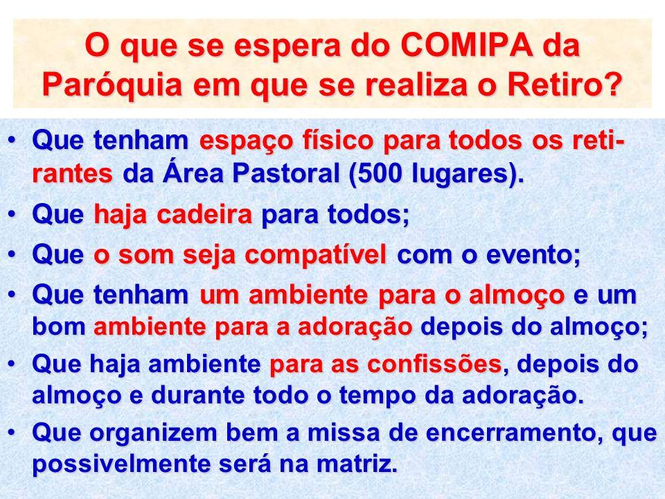 O que se espera do COMIPA da Paróquia em que se realiza o Retiro? Que tenham espaço físico para todos os reti- rantes da Área Pastoral (500 lugares).Q