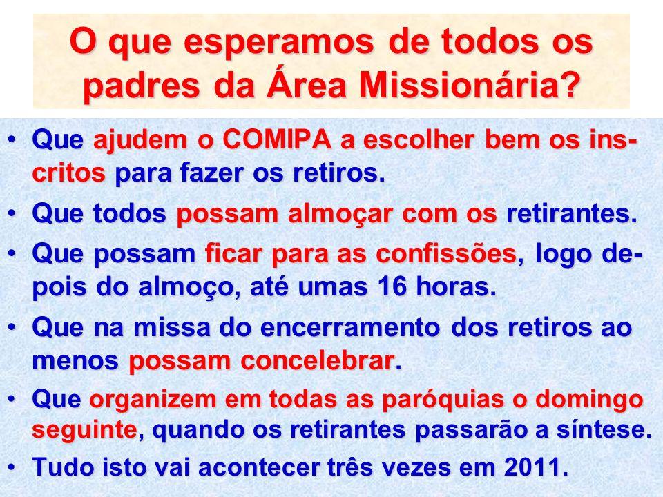 O que esperamos de todos os padres da Área Missionária? Que ajudem o COMIPA a escolher bem os ins- critos para fazer os retiros.Que ajudem o COMIPA a