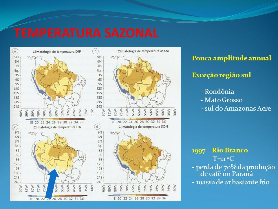 TEMPERATURA SAZONAL Pouca amplitude annual Exceção região sul - Rondônia - Mato Grosso - sul do Amazonas Acre 1997 Rio Branco T=11 o C - perda de 70%