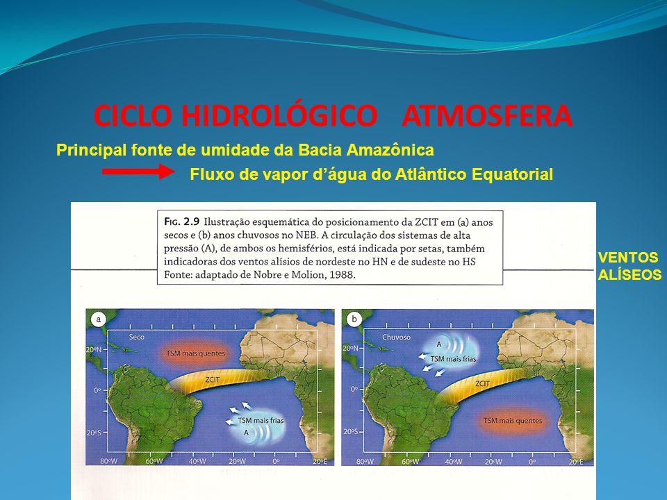 CICLO HIDROLÓGICO ATMOSFERA Principal fonte de umidade da Bacia Amazônica Fluxo de vapor dágua do Atlântico Equatorial VENTOS ALÍSEOS