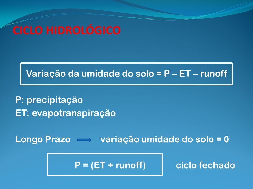 CICLO HIDROLÓGICO Variação da umidade do solo = P – ET – runoff P: precipitação ET: evapotranspiração Longo Prazo variação umidade do solo = 0 P = (ET