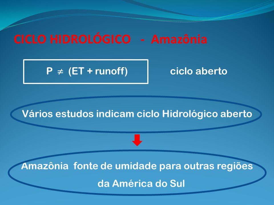 P (ET + runoff) ciclo aberto Vários estudos indicam ciclo Hidrológico aberto Amazônia fonte de umidade para outras regiões da América do Sul CICLO HID