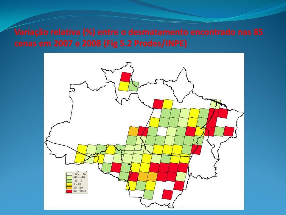 Variação relativa (%) entre o desmatamento encontrado nas 85 cenas em 2007 e 2008 (Fig 5.2 Prodes/INPE)