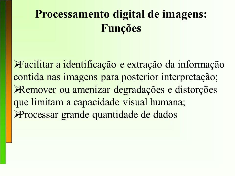 Processamento digital de imagens O processamento digital de imagens de sensoriamento Remoto é dividido em: Pré-processamento: correção radiométrica e geométrica das imagens; Realce: aplicar contrastes nas imagens; Classificação: realizar o mapeamento utilizando algoritmos de agrupamento de padrões.
