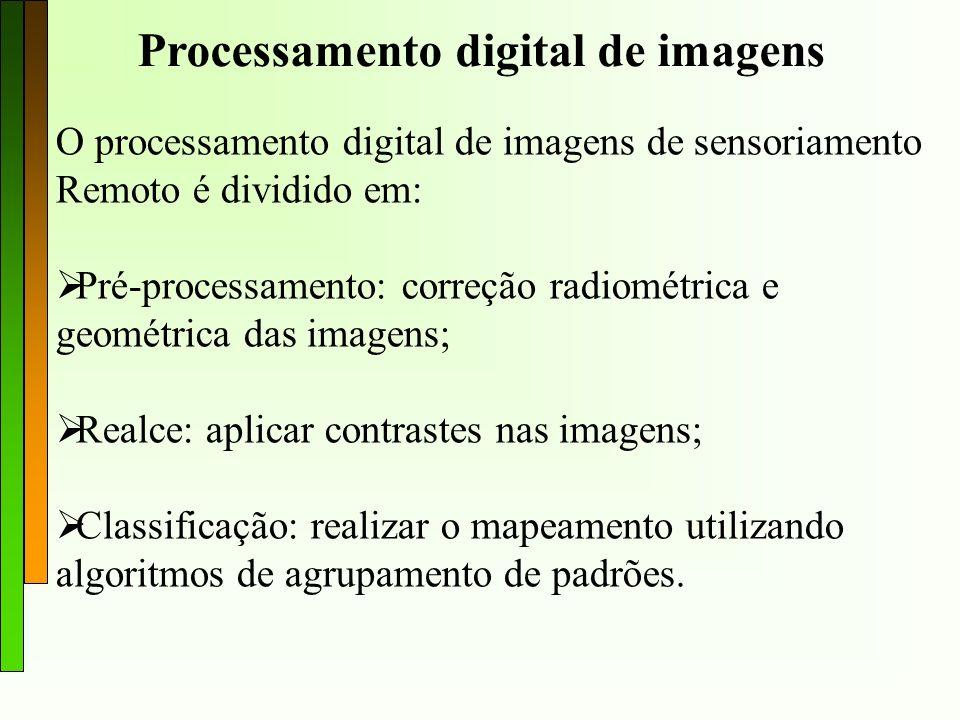 Processamento digital de imagens O processamento digital de imagens de sensoriamento Remoto é dividido em: Pré-processamento: correção radiométrica e