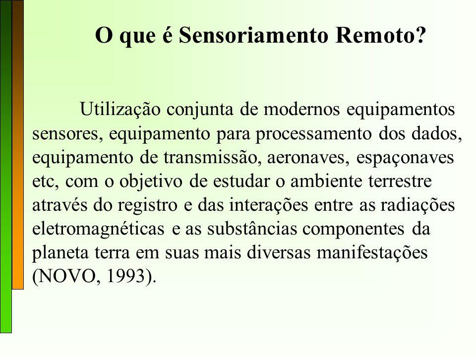 O que é Sensoriamento Remoto? Utilização conjunta de modernos equipamentos sensores, equipamento para processamento dos dados, equipamento de transmis