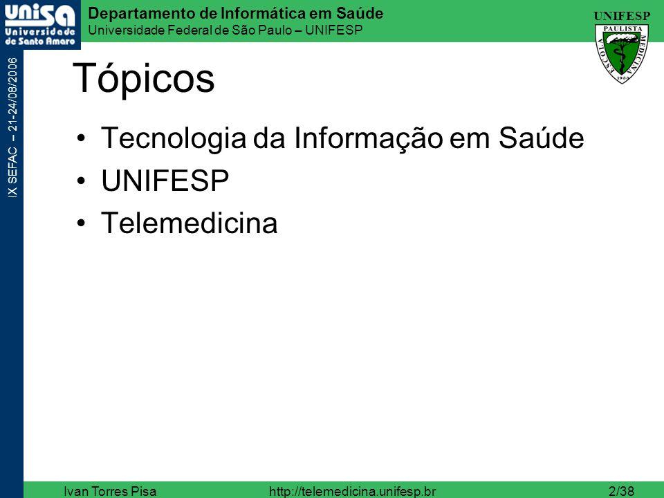 UNIFESP Departamento de Informática em Saúde Universidade Federal de São Paulo – UNIFESP IX SEFAC – 21-24/08/2006 Ivan Torres Pisahttp://telemedicina.unifesp.br33/38 TI em Saúde - PACS X.