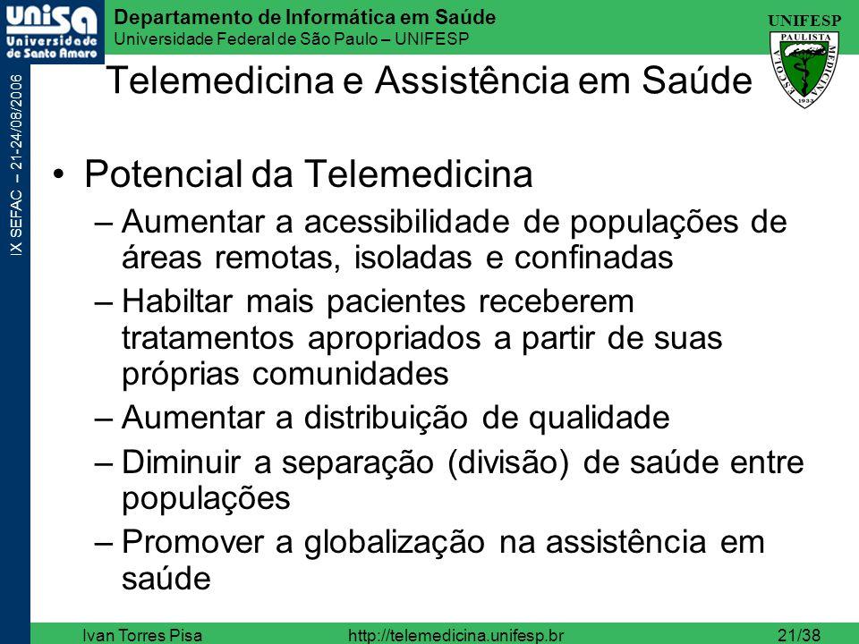 UNIFESP Departamento de Informática em Saúde Universidade Federal de São Paulo – UNIFESP IX SEFAC – 21-24/08/2006 Ivan Torres Pisahttp://telemedicina.