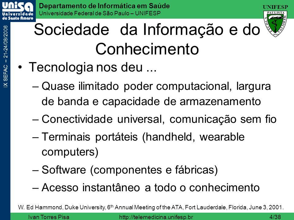 UNIFESP Departamento de Informática em Saúde Universidade Federal de São Paulo – UNIFESP IX SEFAC – 21-24/08/2006 Ivan Torres Pisahttp://telemedicina.unifesp.br25/38 Telepresença http://www.intouch-health.com/