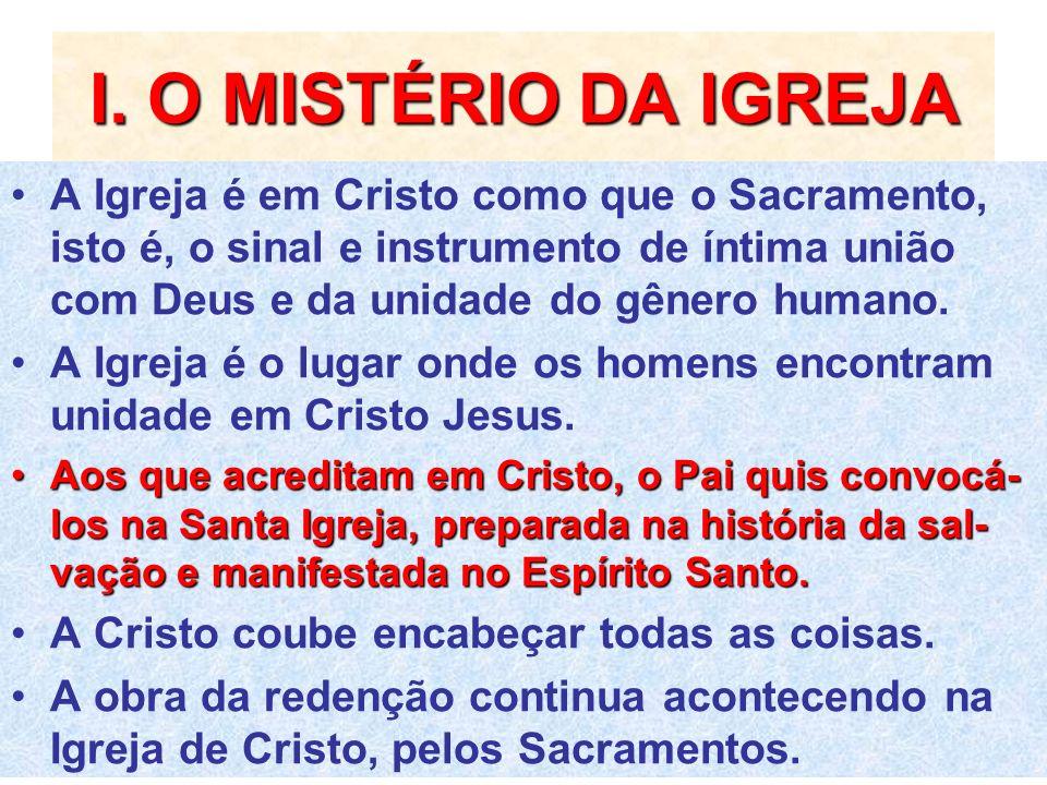 I. O MISTÉRIO DA IGREJA A Igreja é em Cristo como que o Sacramento, isto é, o sinal e instrumento de íntima união com Deus e da unidade do gênero huma