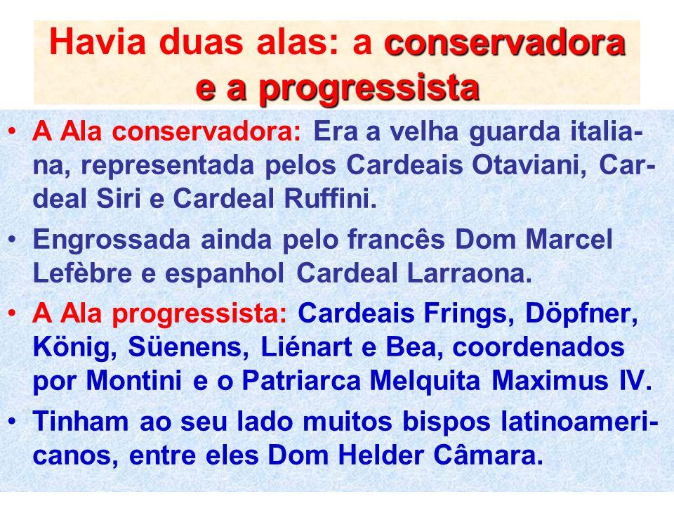 conservadora e a progressista Havia duas alas: a conservadora e a progressista A Ala conservadora: Era a velha guarda italia- na, representada pelos C