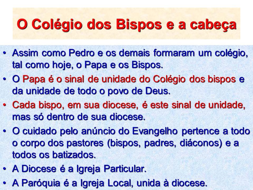 O Colégio dos Bispos e a cabeça Assim como Pedro e os demais formaram um colégio, tal como hoje, o Papa e os Bispos.Assim como Pedro e os demais forma