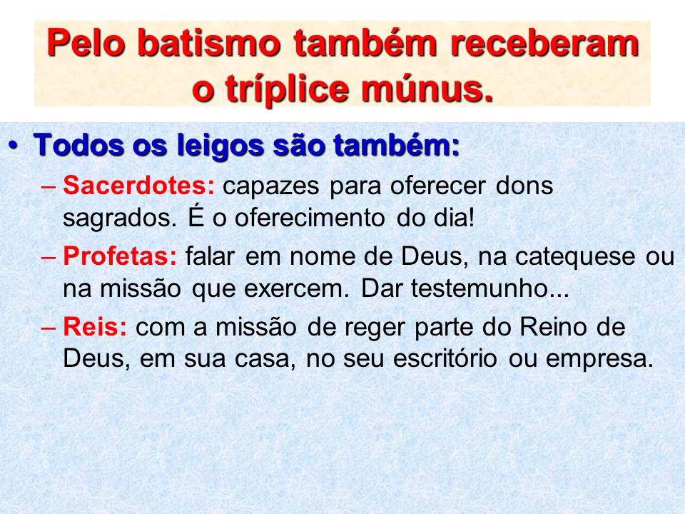Pelo batismo também receberam o tríplice múnus. Todos os leigos são também:Todos os leigos são também: –Sacerdotes: capazes para oferecer dons sagrado