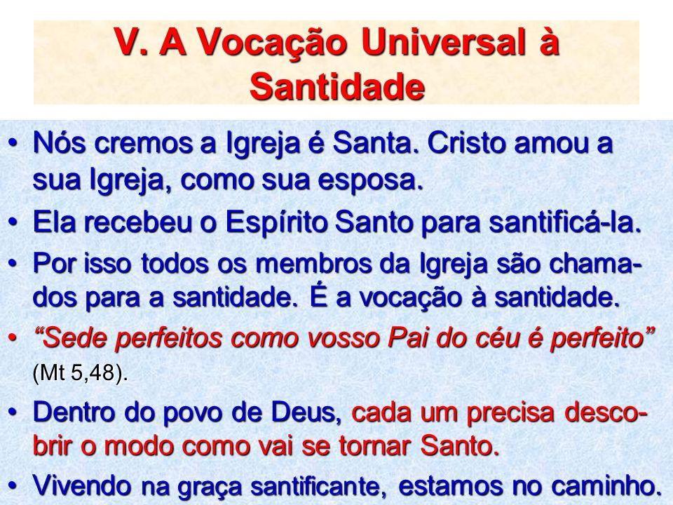 V. A Vocação Universal à Santidade Nós cremos a Igreja é Santa. Cristo amou a sua Igreja, como sua esposa.Nós cremos a Igreja é Santa. Cristo amou a s