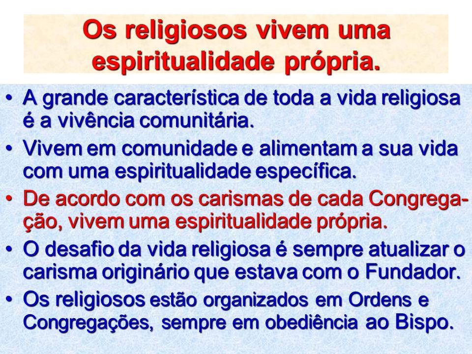 Os religiosos vivem uma espiritualidade própria. A grande característica de toda a vida religiosa é a vivência comunitária.A grande característica de