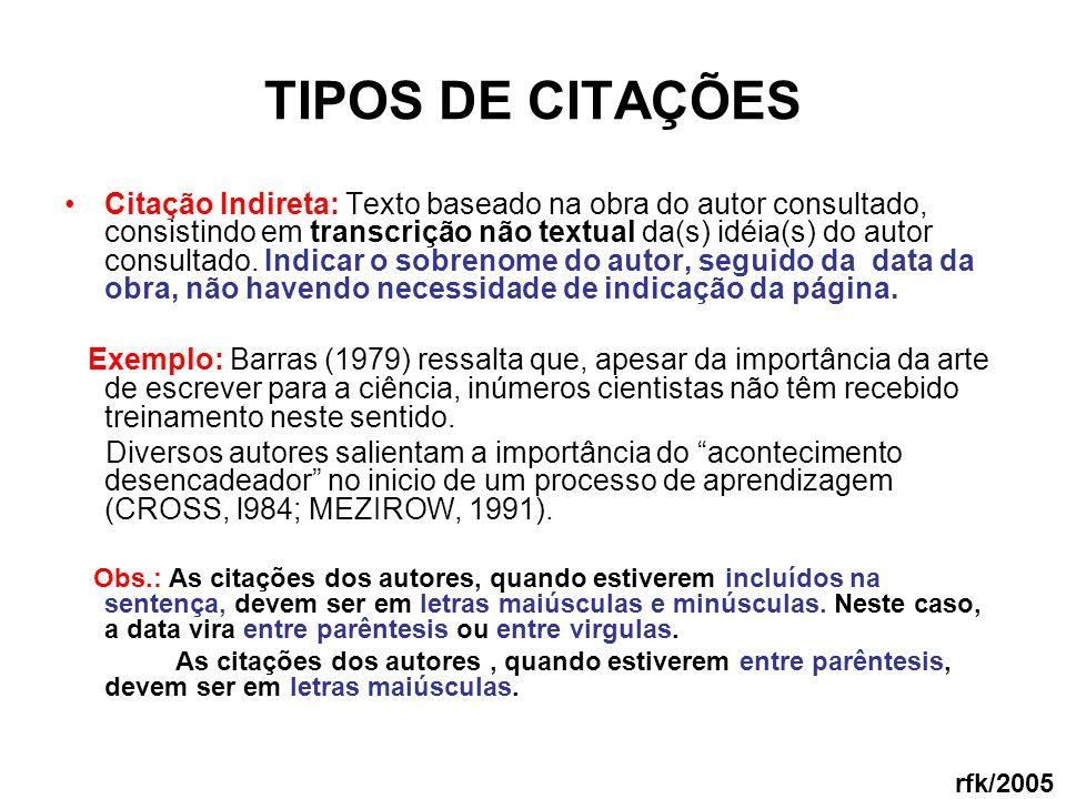 TIPOS DE CITAÇÕES Citação Indireta: Texto baseado na obra do autor consultado, consistindo em transcrição não textual da(s) idéia(s) do autor consulta
