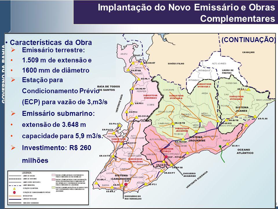 Características da Obra Emissário terrestre: 1.509 m de extensão e 1600 mm de diâmetro Implantação do Novo Emissário e Obras Complementares (CONTINUAÇ