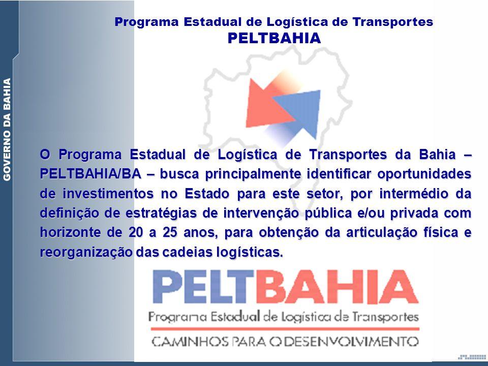O Programa Estadual de Logística de Transportes da Bahia – PELTBAHIA/BA – busca principalmente identificar oportunidades de investimentos no Estado pa