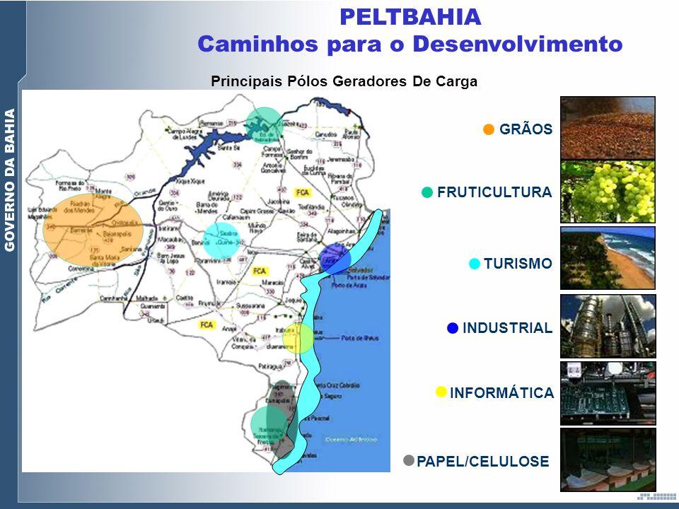 GRÃOS FRUTICULTURA TURISMO INDUSTRIAL INFORMÁTICA Principais Pólos Geradores De Carga PELTBAHIA Caminhos para o Desenvolvimento PAPEL/CELULOSE