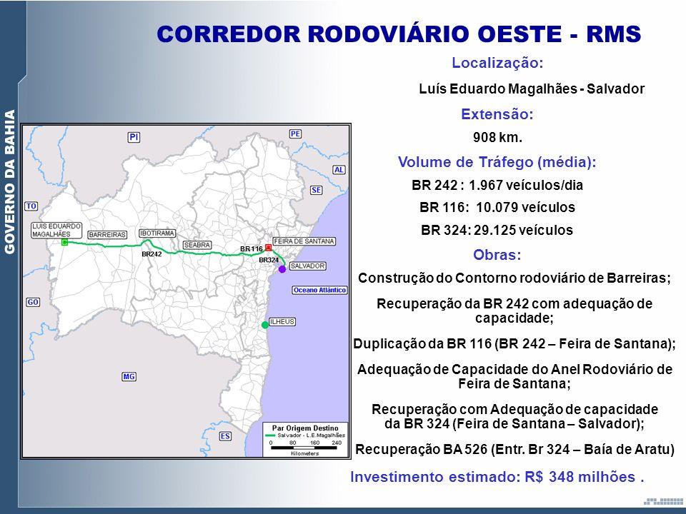 CORREDOR RODOVIÁRIO OESTE - RMS BR116 Localização: Luís Eduardo Magalhães - Salvador Extensão: 908 km. Volume de Tráfego (média): BR 242 : 1.967 veícu