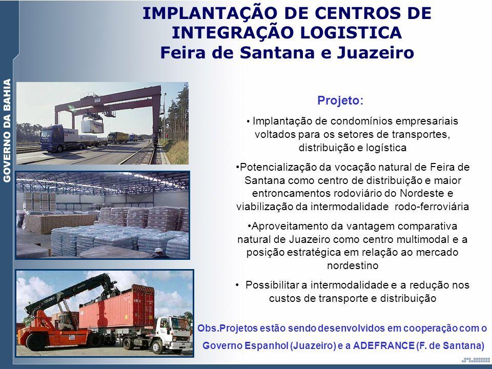 IMPLANTAÇÃO DE CENTROS DE INTEGRAÇÃO LOGISTICA Feira de Santana e Juazeiro Projeto: Implantação de condomínios empresariais voltados para os setores d