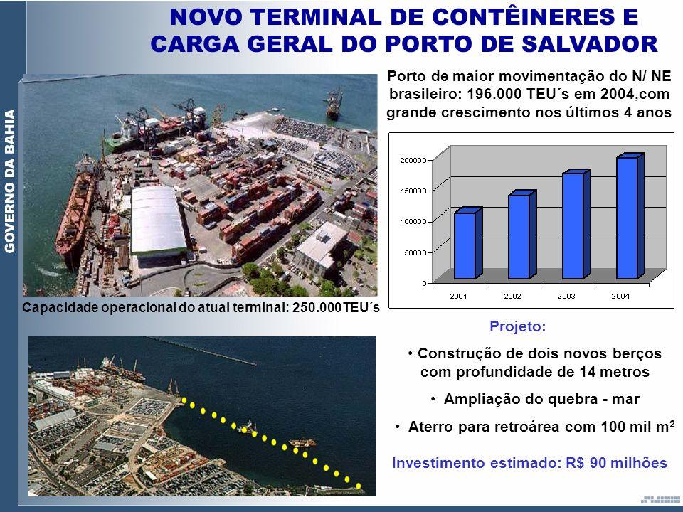NOVO TERMINAL DE CONTÊINERES E CARGA GERAL DO PORTO DE SALVADOR Porto de maior movimentação do N/ NE brasileiro: 196.000 TEU´s em 2004,com grande cres