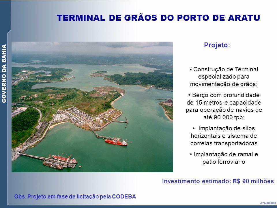 TERMINAL DE GRÃOS DO PORTO DE ARATU Projeto: Construção de Terminal especializado para movimentação de grãos; Berço com profundidade de 15 metros e ca