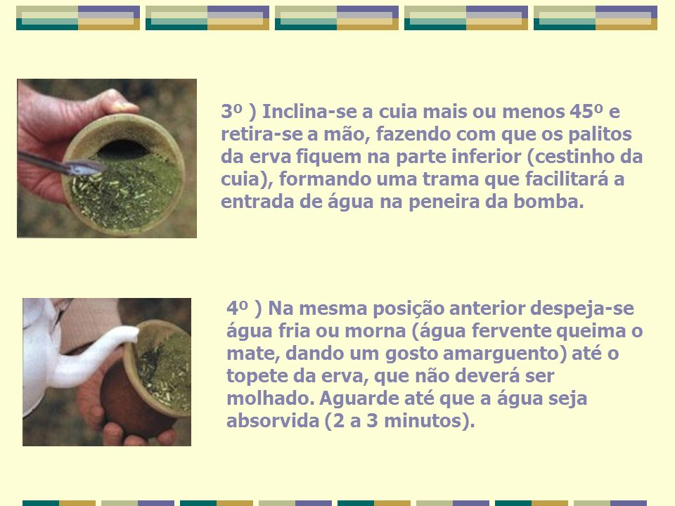 3º ) Inclina-se a cuia mais ou menos 45º e retira-se a mão, fazendo com que os palitos da erva fiquem na parte inferior (cestinho da cuia), formando u