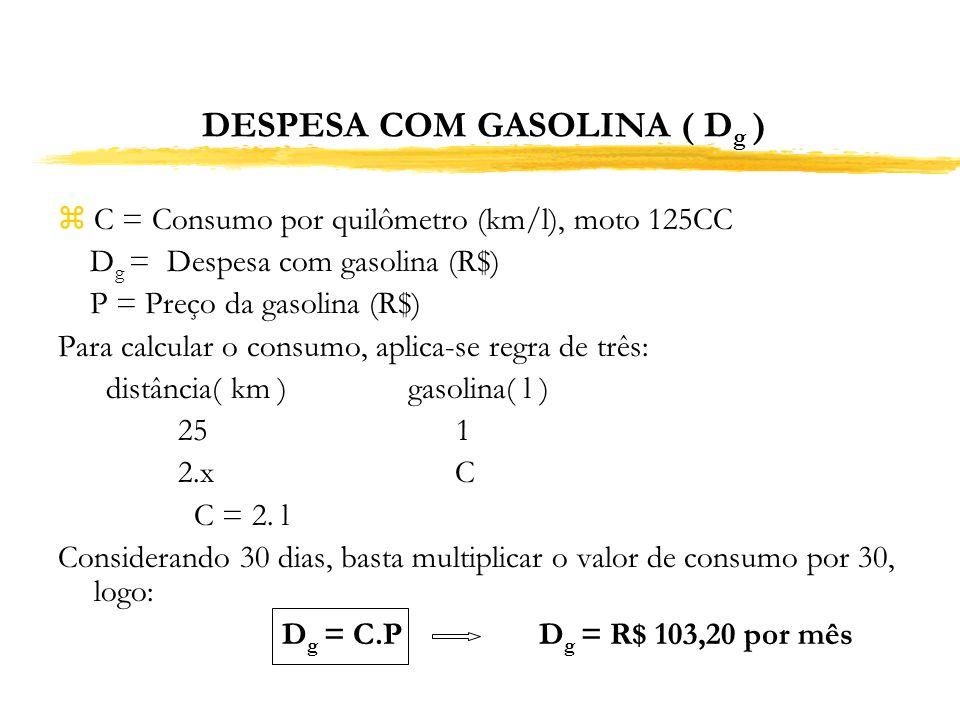 DESPESA COM GASOLINA ( D g ) zC = Consumo por quilômetro (km/l), moto 125CC D g = Despesa com gasolina (R$) P = Preço da gasolina (R$) Para calcular o