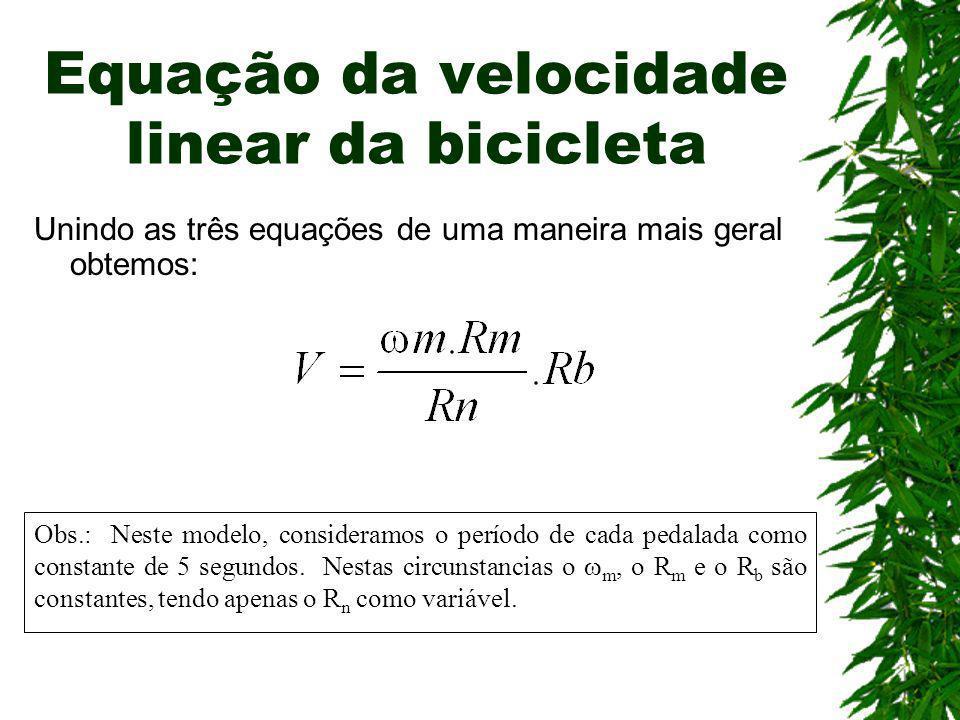 Equação da velocidade linear da bicicleta Unindo as três equações de uma maneira mais geral obtemos: Obs.: Neste modelo, consideramos o período de cad