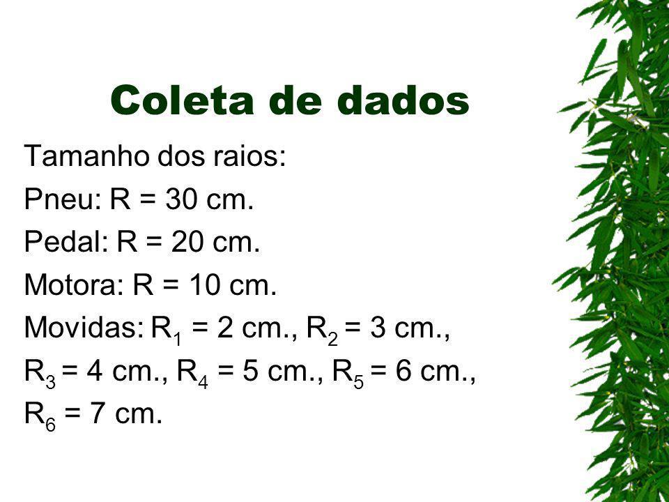 Coleta de dados Tamanho dos raios: Pneu: R = 30 cm. Pedal: R = 20 cm. Motora: R = 10 cm. Movidas: R 1 = 2 cm., R 2 = 3 cm., R 3 = 4 cm., R 4 = 5 cm.,