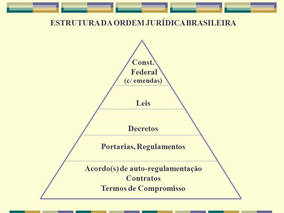 ESTRUTURA DA ORDEM JURÍDICA BRASILEIRA Const. Federal (c/ emendas) Leis Decretos Portarias, Regulamentos Acordo(s) de auto-regulamentação Contratos Te