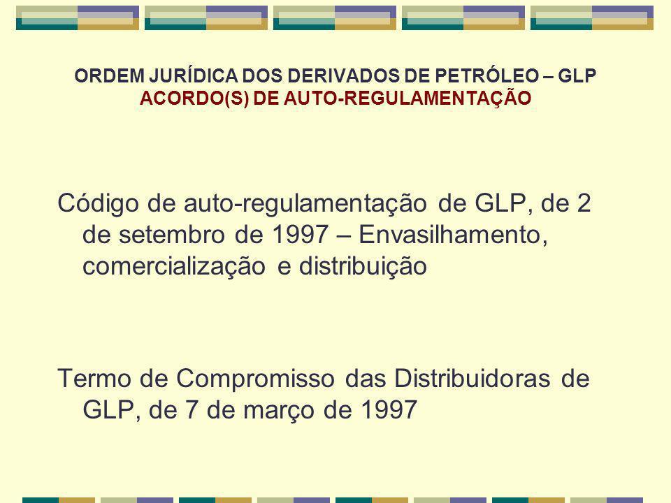ORDEM JURÍDICA DOS DERIVADOS DE PETRÓLEO – GLP ACORDO(S) DE AUTO-REGULAMENTAÇÃO Código de auto-regulamentação de GLP, de 2 de setembro de 1997 – Envas