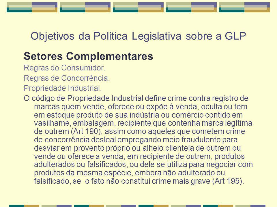 Objetivos da Política Legislativa sobre a GLP Setores Complementares Regras do Consumidor. Regras de Concorrência. Propriedade Industrial. O código de