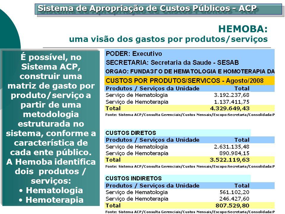 Sistema de Apropriação de Custos Públicos - ACP É possível, no Sistema ACP, construir uma matriz de gasto por produto/serviço a partir de uma metodolo