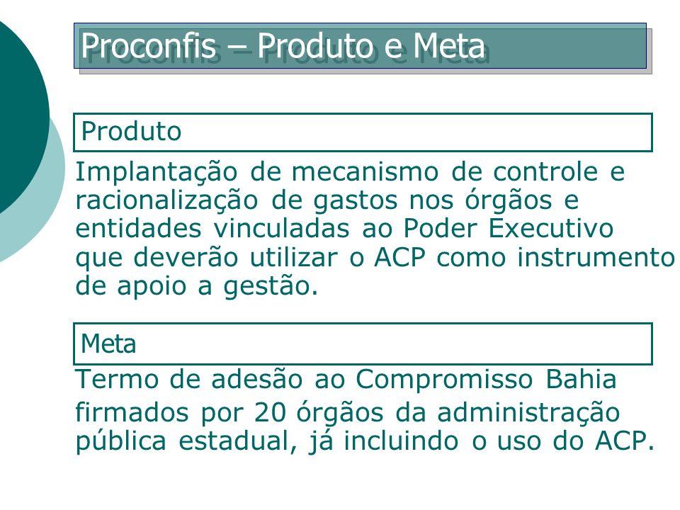 Implantação de mecanismo de controle e racionalização de gastos nos órgãos e entidades vinculadas ao Poder Executivo que deverão utilizar o ACP como i