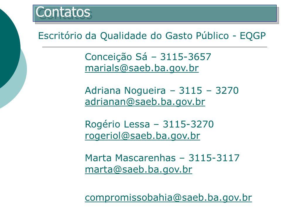 Contatos Conceição Sá – 3115-3657 marials@saeb.ba.gov.br Adriana Nogueira – 3115 – 3270 adrianan@saeb.ba.gov.br Rogério Lessa – 3115-3270 rogeriol@sae