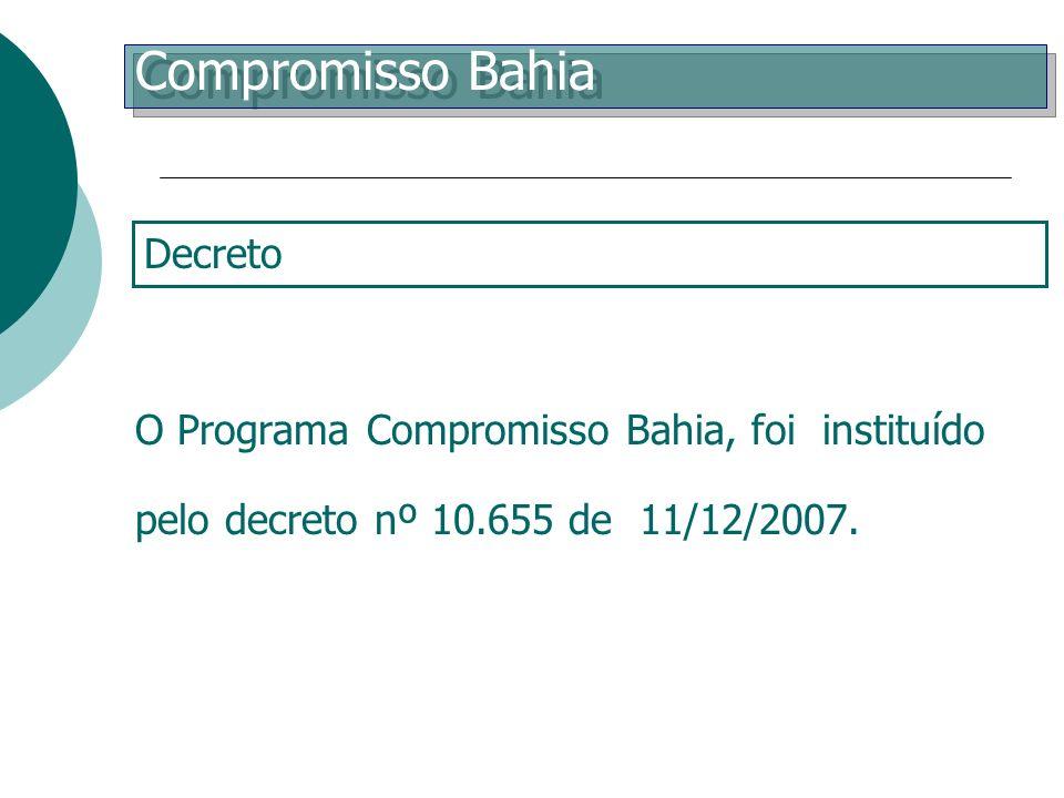 O Programa Compromisso Bahia, foi instituído pelo decreto nº 10.655 de 11/12/2007. Decreto de Criação Compromisso Bahia