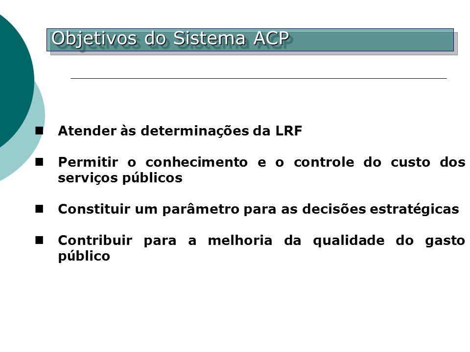 Atender à s determina ç ões da LRF Permitir o conhecimento e o controle do custo dos servi ç os p ú blicos Constituir um parâmetro para as decisões es