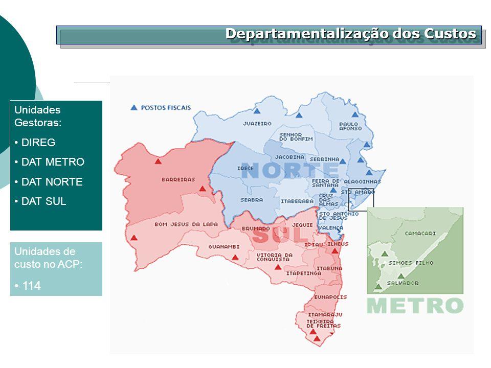 Departamentalização dos Custos Unidades Gestoras: DIREG DAT METRO DAT NORTE DAT SUL Unidades de custo no ACP: 114