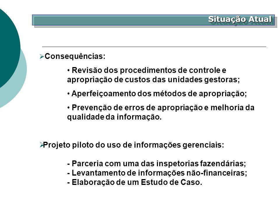 Situação Atual Consequências: Revisão dos procedimentos de controle e apropriação de custos das unidades gestoras; Aperfeiçoamento dos métodos de apro