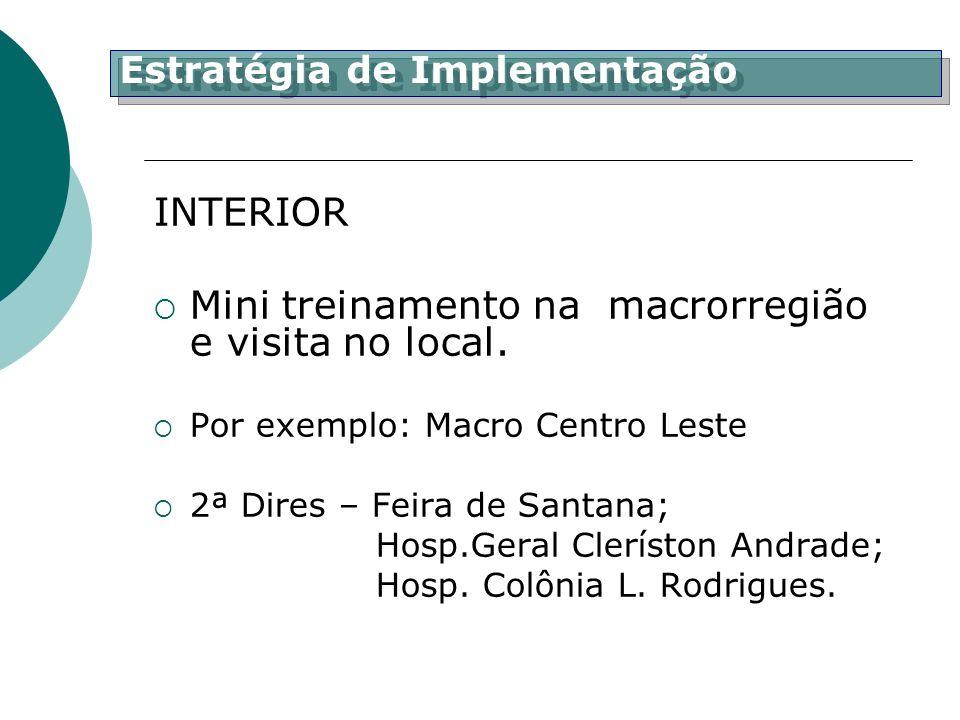 INTERIOR Mini treinamento na macrorregião e visita no local. Por exemplo: Macro Centro Leste 2ª Dires – Feira de Santana; Hosp.Geral Cleríston Andrade