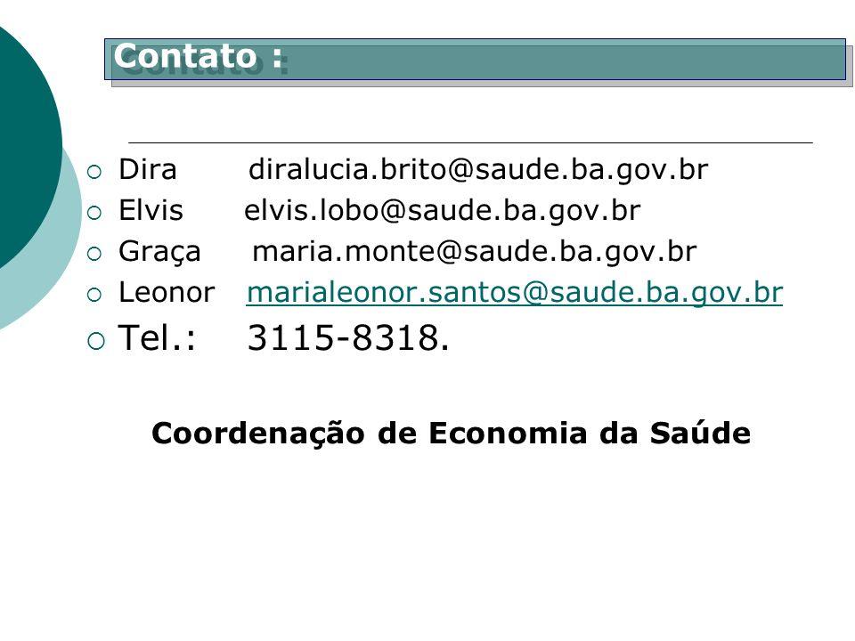 Dira diralucia.brito@saude.ba.gov.br Elvis elvis.lobo@saude.ba.gov.br Graça maria.monte@saude.ba.gov.br Leonor marialeonor.santos@saude.ba.gov.brmaria